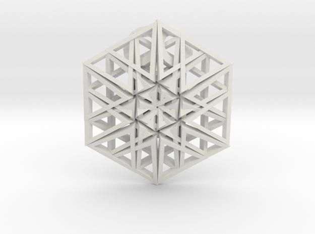 Triangular Hexagon Pendant in White Natural Versatile Plastic