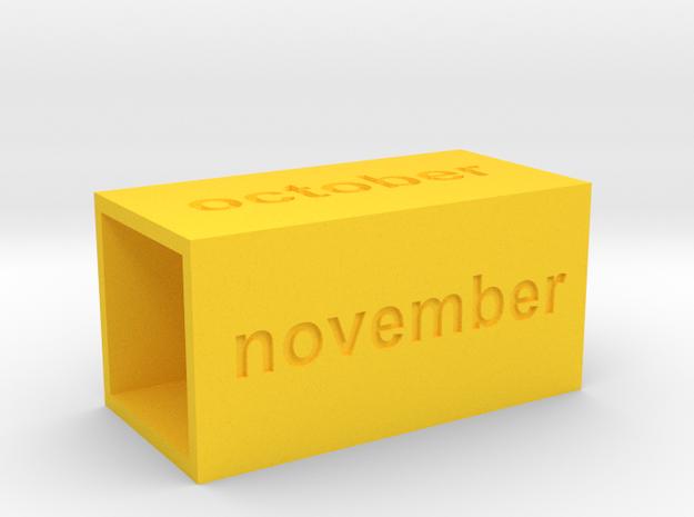 Calendar3 in Yellow Processed Versatile Plastic