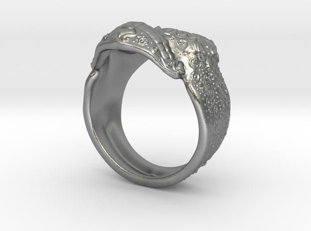 Day Of The Dead Skull Ring in Raw Silver