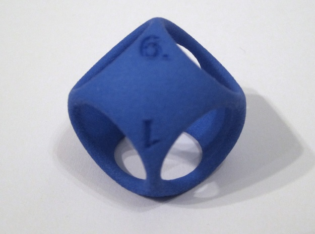 D6 Shell Dice - Gen 2 in Blue Strong & Flexible Polished