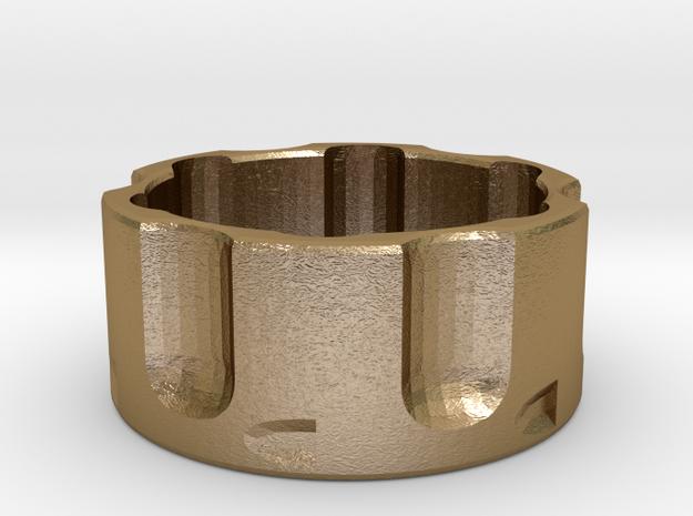 Revolver Cylinder Ring Size 13 in Polished Gold Steel
