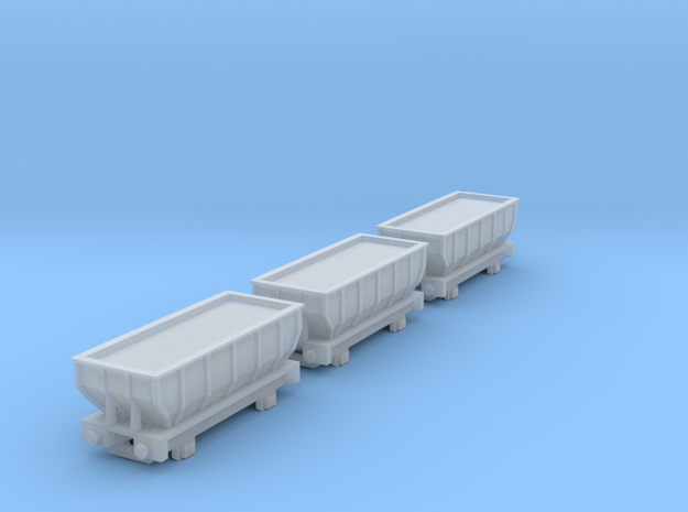 T-gauge 3 Hoppers - Custom Wheels, see description 3d printed