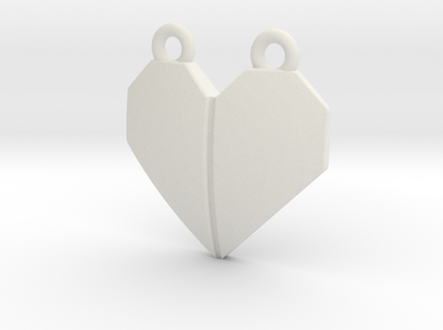 Origami Heart Pendant - w/ center crease in White Natural Versatile Plastic