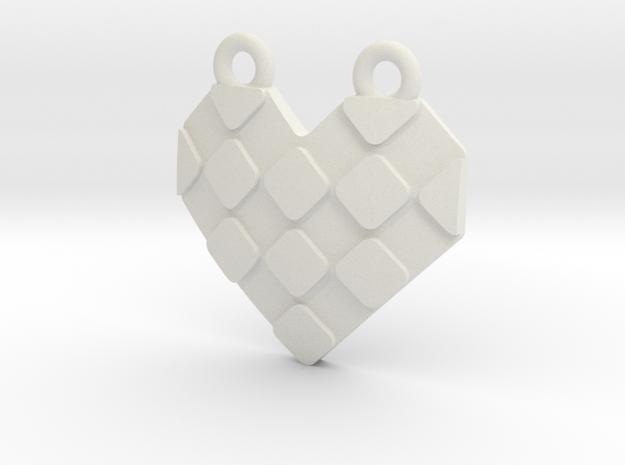 Origami Heart Pendant - checkered in White Natural Versatile Plastic