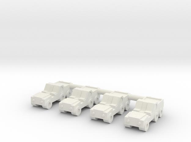 1/285 Long Range Patrol Vehicle (x4) in White Natural Versatile Plastic