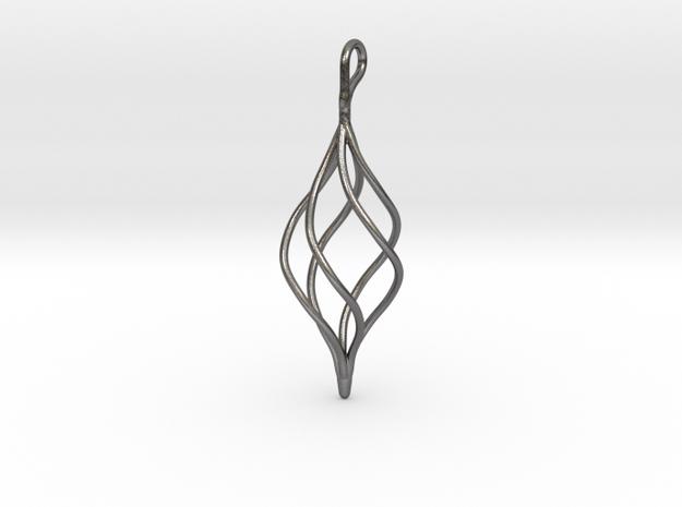 Helical Basket Pendant in Polished Nickel Steel