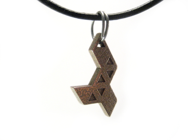 Tribal Pendant in Polished Bronzed Silver Steel