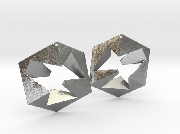 Flat Cube Earrings in Raw Silver