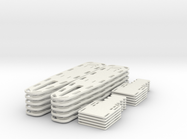 1/24 scale Spine Board Set (10 ea full and half) in White Natural Versatile Plastic