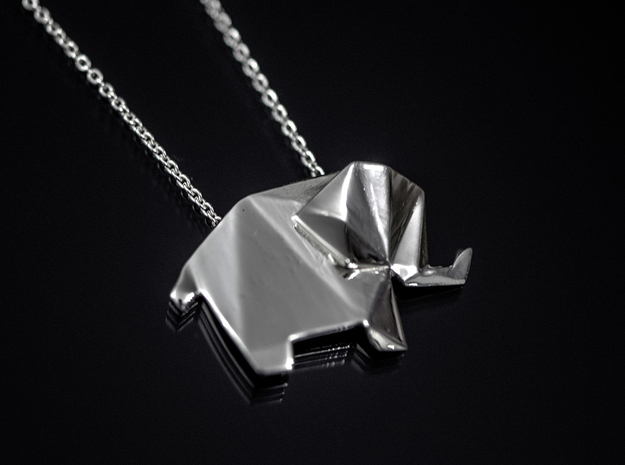 Origami Elephant  3d printed Premium Silver