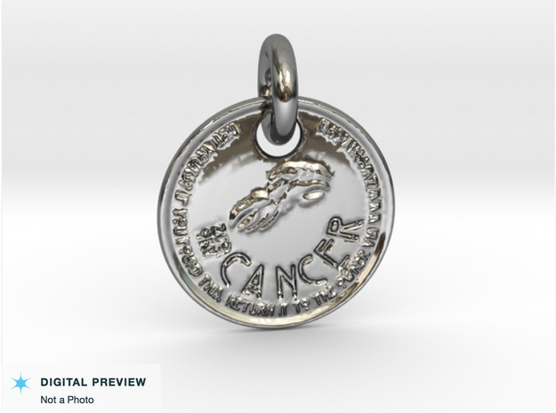 ZWOOKY Style 203 - pendant zodiac - Cancer in Fine Detail Polished Silver