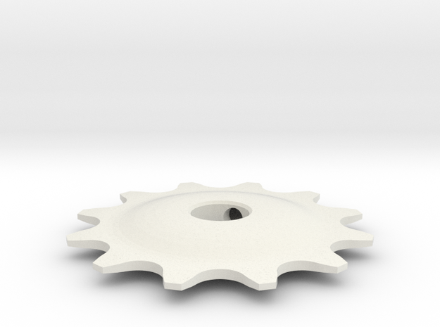 Pulley 12t for RD, hollow (lower pulley) in White Strong & Flexible