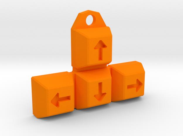 Arrow-Keys Keychain / Pendant in Orange Strong & Flexible Polished