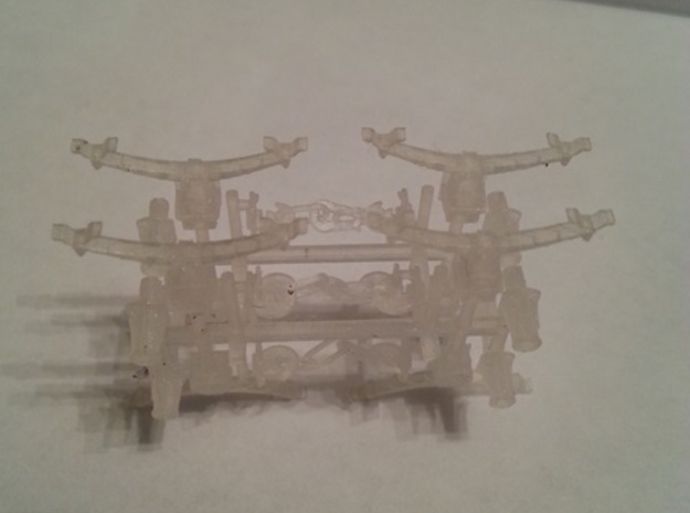 LMS axlebox, springs, couplings and buffer bodies 3d printed As the sprue arrives - Some have already been removed and used.