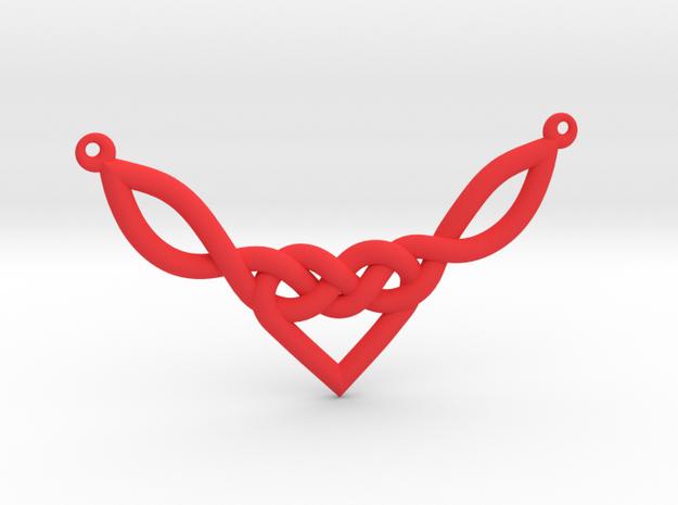 Celtic Heart Knot Pendant in Red Processed Versatile Plastic