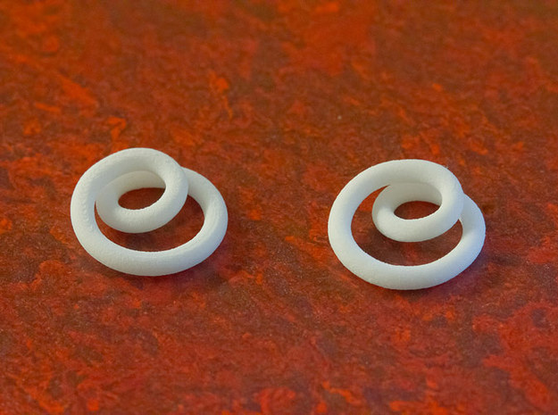 Infinite loop earring 3d printed Printed in WSF