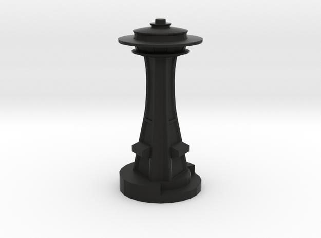 Space Needle in Black Natural Versatile Plastic