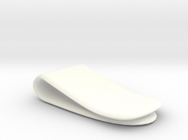 Money Clip in White Processed Versatile Plastic