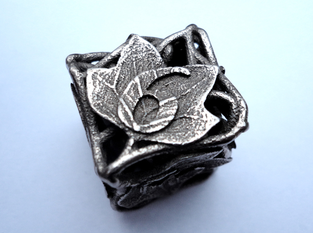 Botanical Die6 (Tulip Tree) 3d printed In stainless steel