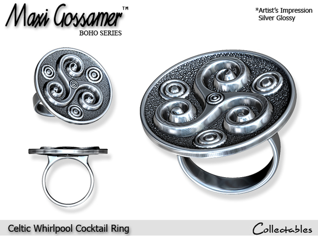 Celtic Whirlpool Cocktail Ring in Polished Silver