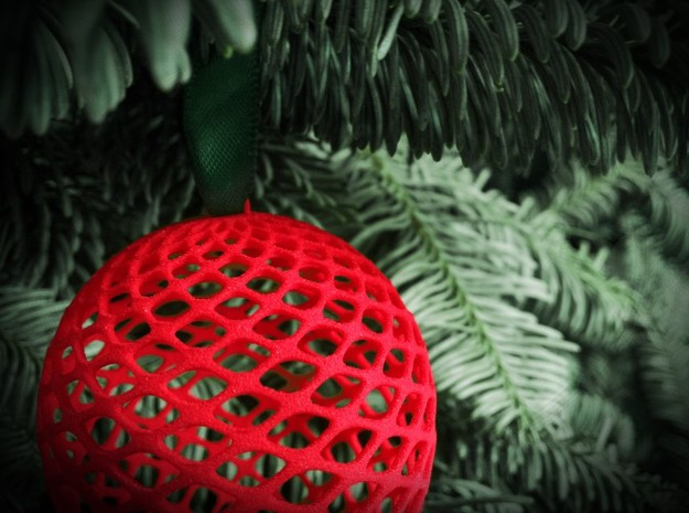 Christmas Pine Cone Decoration 3d printed Red Pine Cone close-up