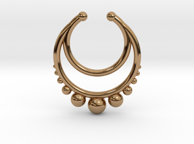 Faux Septum Dropped Ring with Spheres Under (wider in Polished Brass