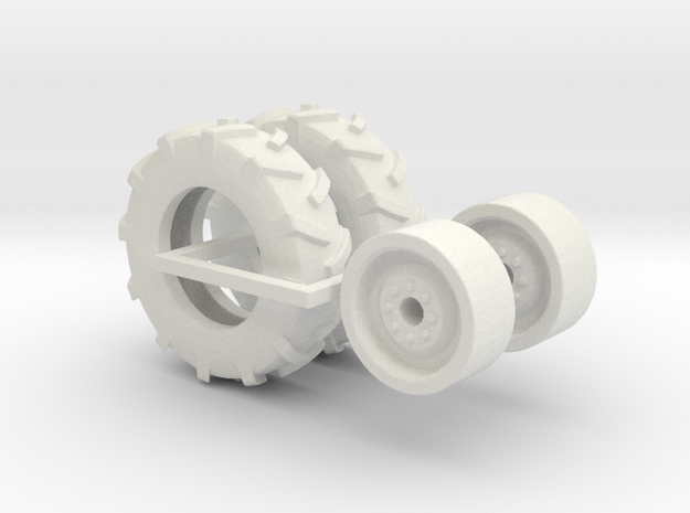 1:64 scale 11-22.5 Tire And Wheels in White Natural Versatile Plastic