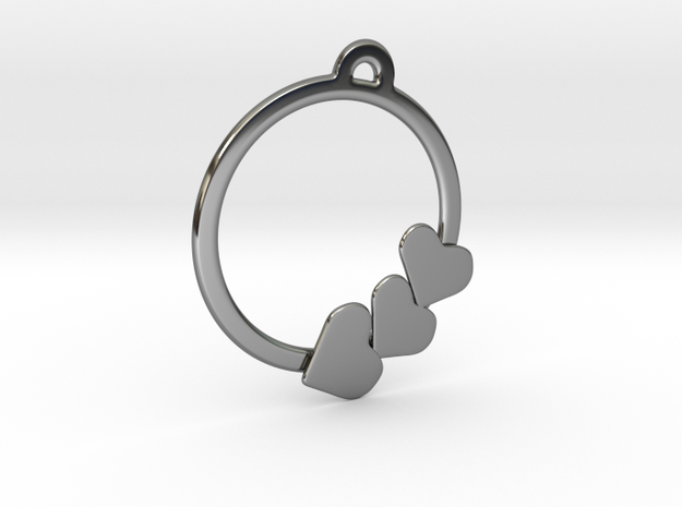 Heart on a ring Pendant  in Fine Detail Polished Silver
