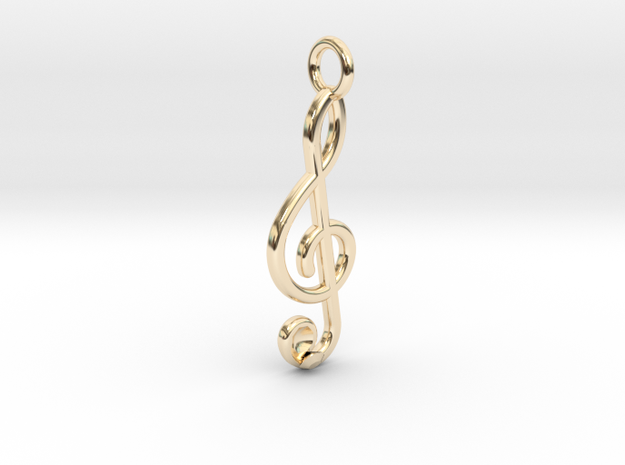 G Clef lost diamond in 14K Yellow Gold