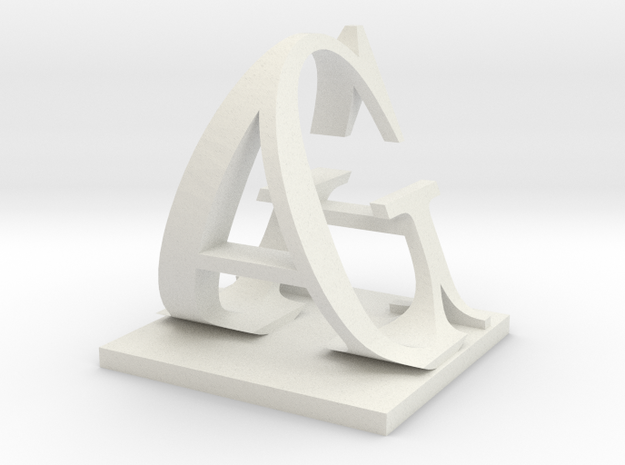 Two way letter / initial G&A XXL in White Natural Versatile Plastic
