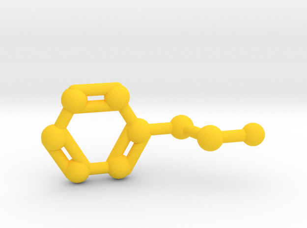 Phenethylamine Molecule Keychain Pendant in Yellow Processed Versatile Plastic