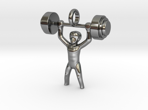 Weightlifter 1 in Fine Detail Polished Silver