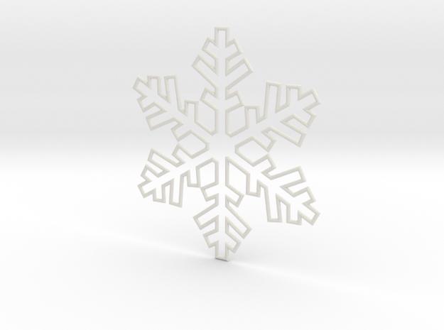 Snowflake Pendant 3 in White Strong & Flexible