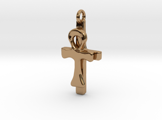 Ankh and Cross Pendant in Polished Brass