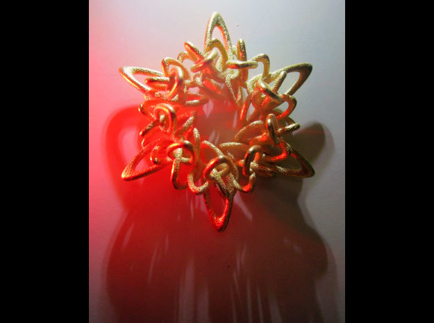 Ring Flower 1 - 4cm in Polished Gold Steel