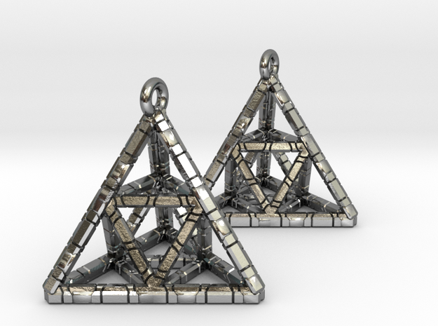 TETRAHEDRON (stage two) earrings in Polished Silver