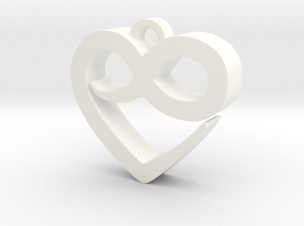 Infini Heart Necklace in White Processed Versatile Plastic