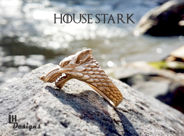 Size 8 Direwolf Ring in Natural Bronze: 8 / 56.75