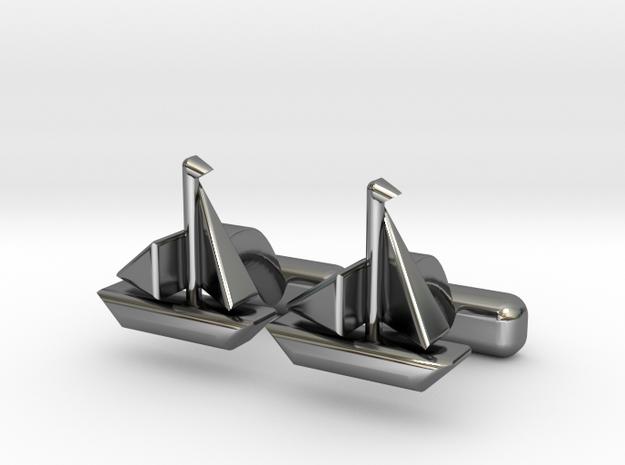 Yacht Cufflinks in Fine Detail Polished Silver