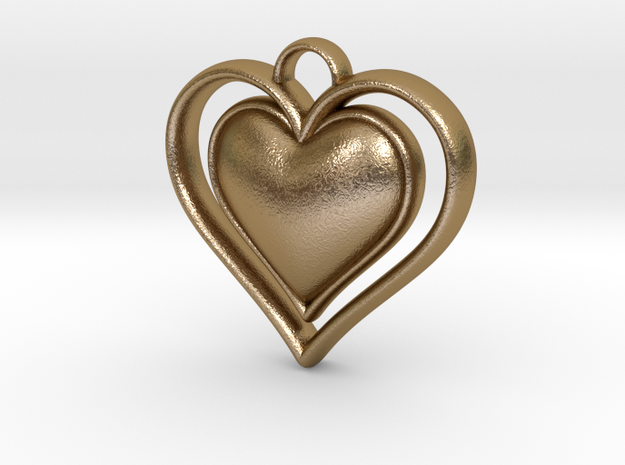 Framed Heart Pendant in Polished Gold Steel