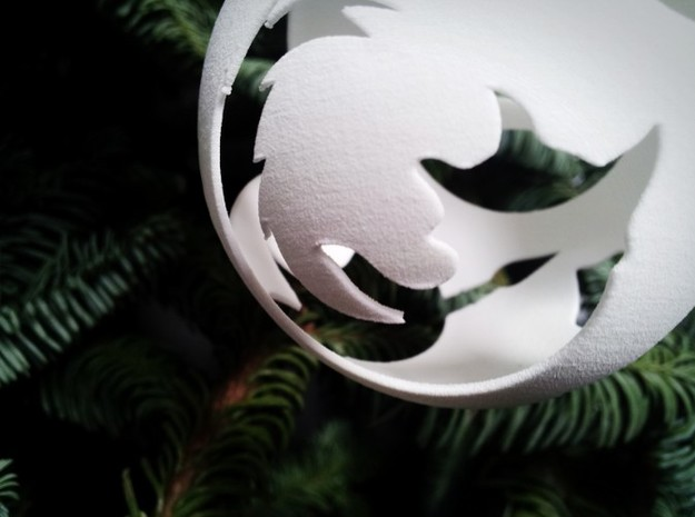 Open Source Christmas Ornament 3d printed Gimp logo seen through the Firefox logo