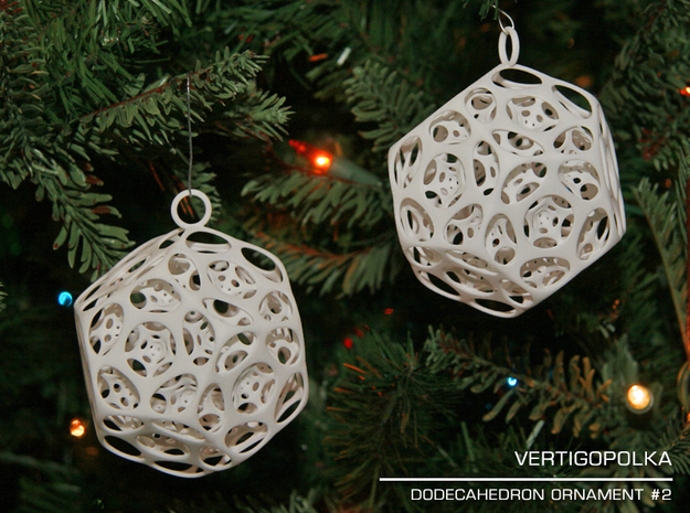 Dodecahedron Ornament 2 in White Natural Versatile Plastic