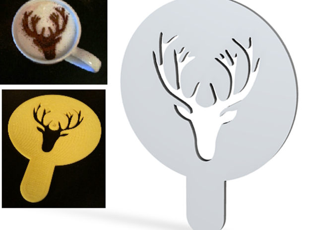 Deer - coffe plate (shape) - decoration in White Natural Versatile Plastic