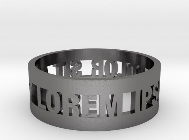 Loremipsum Ring in Polished Nickel Steel