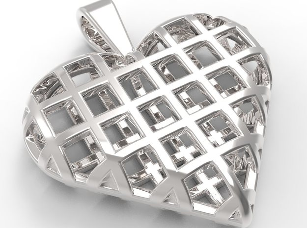 Heart wireframe pendant in Fine Detail Polished Silver