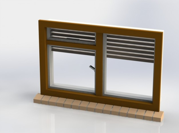 Window with horizontal shutters, scale 1 1:32 1:35 in White Natural Versatile Plastic
