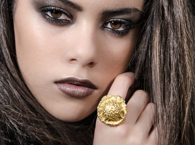 ZOPYROS Ring in Polished Gold Steel