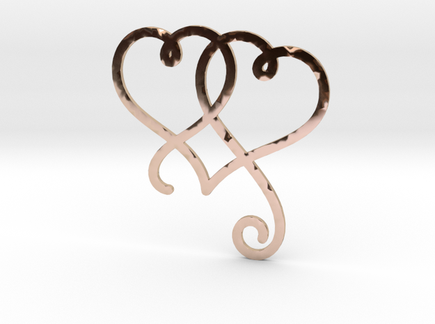 Linked Swirly Hearts (Thin) in 14k Rose Gold