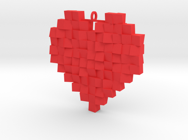 Faceted Heart in Red Processed Versatile Plastic