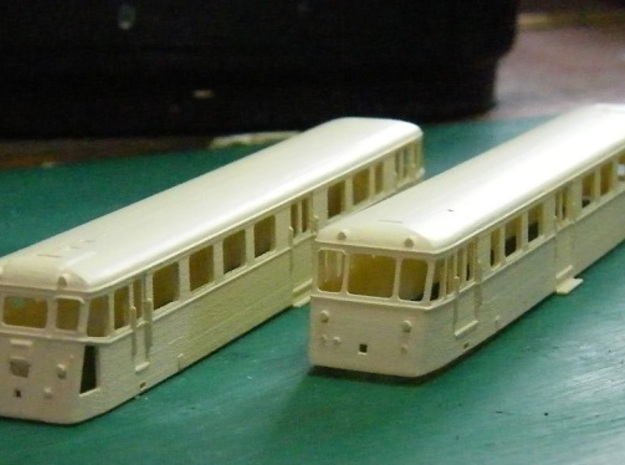 Autorail De Dion OC2 Nm 1:160 3d printed  Undercoated body shells showing both ends